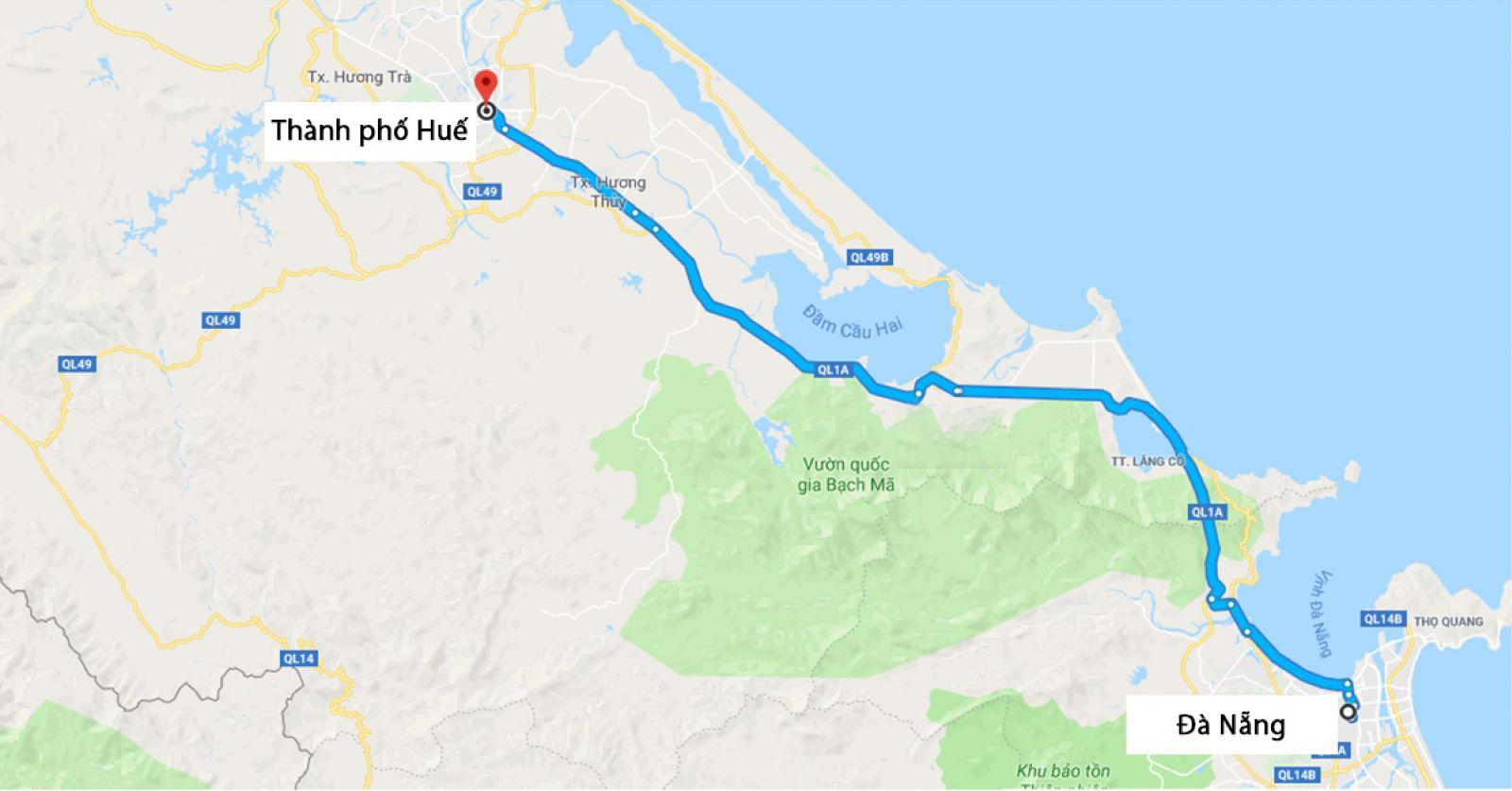 Đà Nẵng đi Huế bao nhiêu km