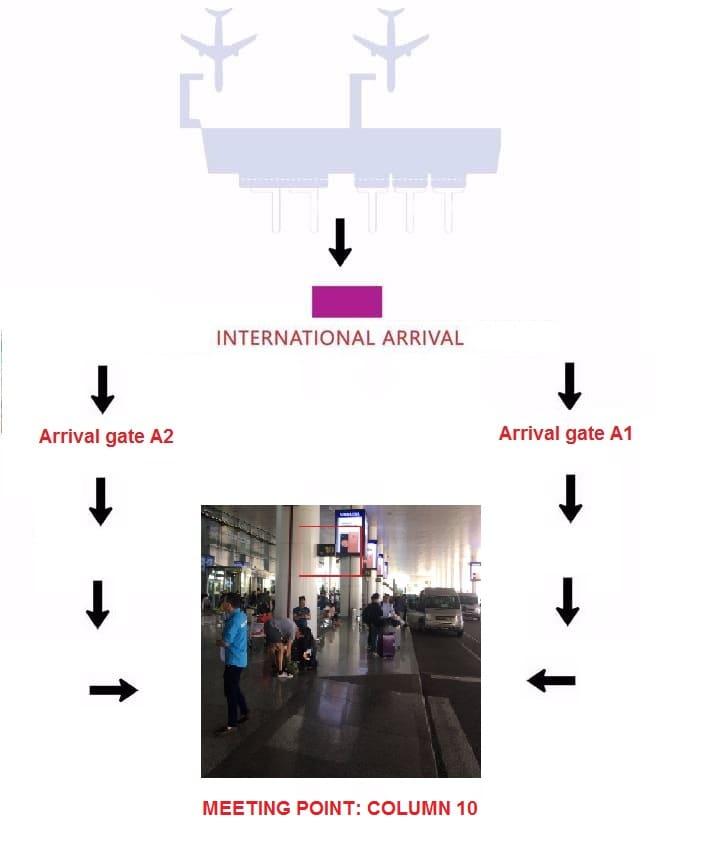 Driver meeting' map at Noibai International Airport Pickup service