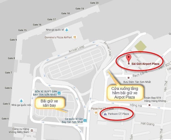 sơ đồ các bãi giữ xe sân bay Tân Sơn Nhất